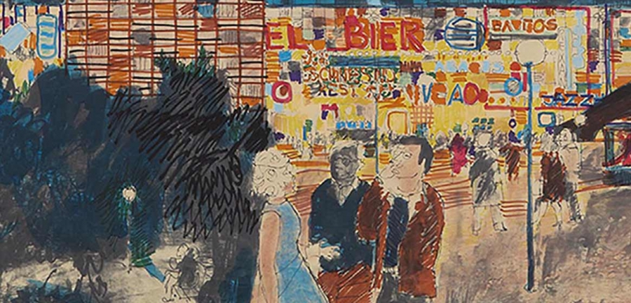 J.B. INGWERSEN. EVENING IMPRESSION OF THE LEIDSEPLEIN IN AMSTERDAM, 1960–1965. COLLECTION HET NIEUWE INSTITUUT. INGW R79